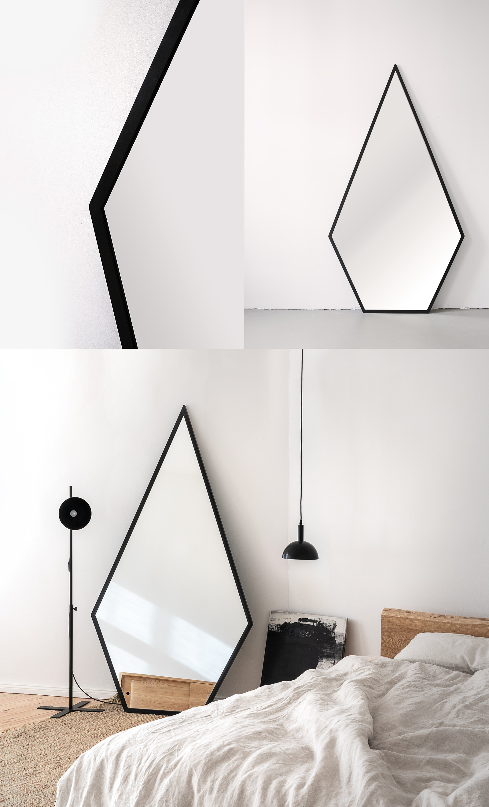 Nutsandwoods diamond mirror for Different sized mirrors