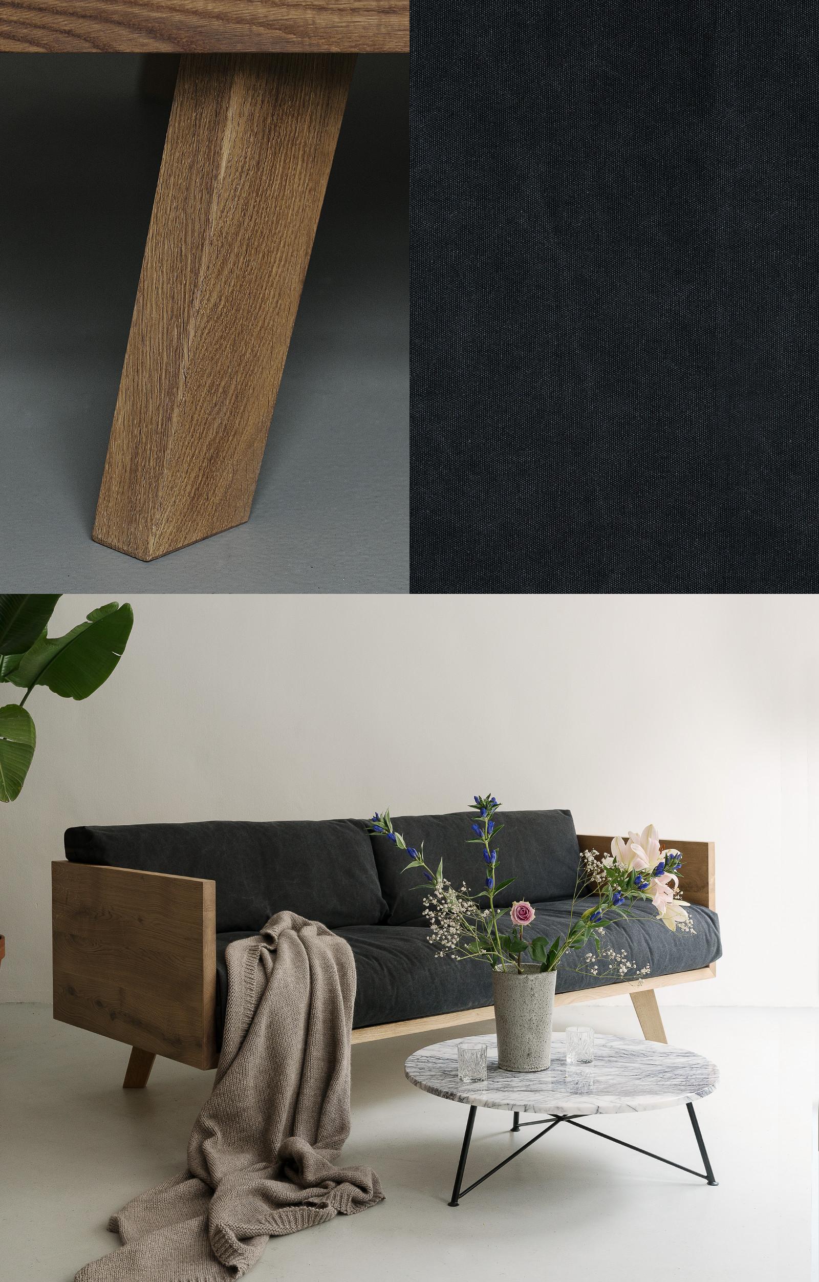 nutsandwoods oak linen sofa. Black Bedroom Furniture Sets. Home Design Ideas